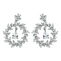 Platinum Over 925 Sterling Silver Made with Swarovski Zirconia Earrings Ct 11.5