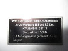 Typenschild AHK AZV s39 Anhängekupplung Wartburg 353 1.3 Anhängerzugvorrichtung
