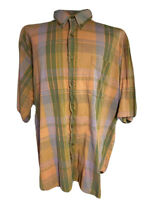 Vintage 90s GAP Colorful Plaid Shirt Mens XL Short Sleeve Button Up Multicolored