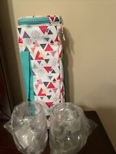 NEW Wine Cooler Bag with 2 clear Plastic Glasses Carry Handle * Wine To Go!! NEW