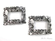 """Vintage Signed MUSI Large Silver Tone Leaf SHOE CLIPS 2 1/2"""" by 2"""""""
