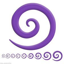 06mm/2 Gauge Body Jewelry Pair-Tapers Spiral Purple Acrylic