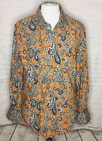 Robert Graham Mens Shirt Medium Orange Blue Paisley Flip Cuff Button Front