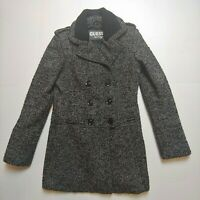 Guess Los Angeles Size Small Black White Tweed Button Pea Coat Jacket Winter