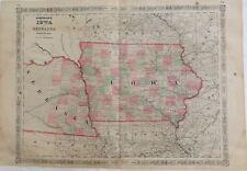 "1864 Civil War Era ""Iowa Nebraska"" Johnsons Antique Map Atlas"
