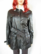 FEMME CONBIPEL Vintage 90 S Retro en cuir noir Trenchcoat Veste Sz 16 XL AP46