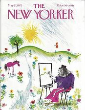 The New Yorker magazine COVER ONLY ~SEARLE ~ May 27 1972 ~ Hippie artist horse