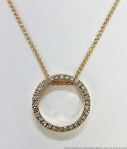 Vintage 0.33ctw Diamond Circle Pendant 14k Gold Chain Necklace