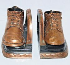 Vintage Copper Baby Shoe Bookends Pair papier mache Sculpture Mid Century metal