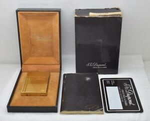 Vintage ST DUPONT Gatsby Lighter Gold Plated Diamond Pattern