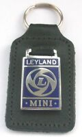 LEYLAND MINI LEATHER AND ENAMEL KEY RING KEY CHAIN KEY FOB