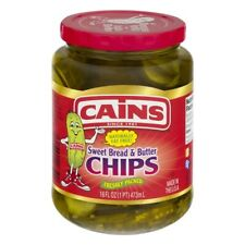 CAINS Sweet Bread & Butter Pickles 16 Fl Oz Jar Condiments Canes Kains Kanes