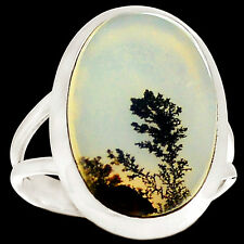 Rare Russian Dendritic Agate 925 Silver Ring Jewelry s.8 RR58952