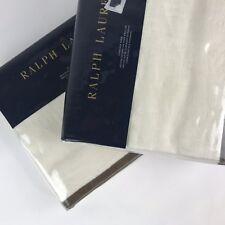 2 Ralph Lauren Bellosguardo Linen standard pillow shams set cream sham New
