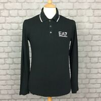 EA7 EMPORIO ARMANI MENS UK S BLACK LONG SLEEVE POLO SHIRT DESIGNER CASUAL SMART