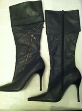 Womens River Island Grey Leather Stiletto Zip Boots Size 5 (b1)