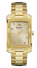 Bulova Men's 97D107 Genuine Diamond Markers Yellow Gold Quartz Dress Watch