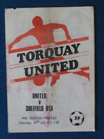 Torquay United v Sheffield United 30/7/77 Friendly Programme - 4 pages