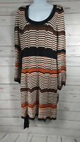 NEW INC International Concepts Brown Orange White Dress Large Retail $115