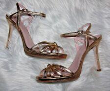 kate spade new york florence gold metallic nappa leather heels 9.5 m