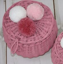 Large Basket handmade of wicker - box with lid - DUSTY PINK color with pompoms