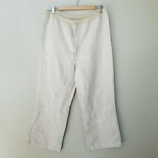 MIMI MATERNITY Womens Beige Cropped Pants Size S SMALL 100% Linen
