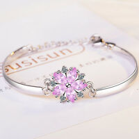 Women's Solid 925 Sterling Silver Pink Zircon Cherry blossoms Bangle Bracelet