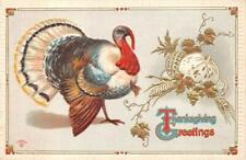 THANKSGIVING HOLIDAY TURKEY EMBOSSED POSTCARD 1914