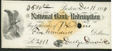 National Bank of Redemption Boston, MA check on RN-G1 paper as shown  1880 (9)