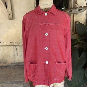 Vintage 1930s 1940s Red Denim Selvedge Chore Coat Sportswear Workwear Jacket