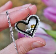 Mother's Necklace Living Locket Mom Birthstone Floating Charms NOVEMBER Children