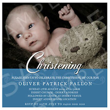 Personalised Photo Boy Christening Naming Day Baptism Square Invite Invitation