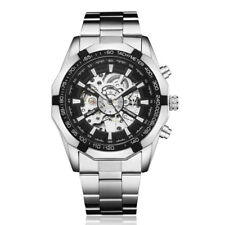 Silver Skeleton Automatic Mechanical Men Watch Stainless Steel Band Luxury Watch