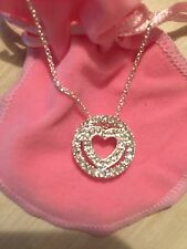 AVON CIRCLE OF HEARTS SILVERTONE NECKLACE WITH CRYSTALS, PINK POUCH AND HEART