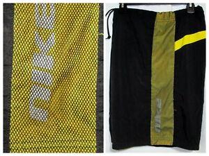 NIKE Spellout Logo Yellow Stripe Black Swim Trunks Lined Athletic Shorts Mens L