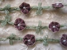 VINTAGE FRENCH STYLE EGGPLANT PURPLE VELVET WITH PEARLS ROCOCO TRIM  1 YD.