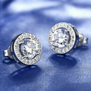 Real 18ct White Gold Plated Crystal Diamond Earring for Men's or boy's Unisex