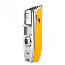 COHIBA Metal 3 TORCH JET FLAME CIGAR CIGARETTE LIGHTER With PUNCH Yellow