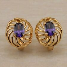 a8ec02700716 Pendientes Aretes Oro (GoldFilled) Amatista Creada. Gold Filled Earrings