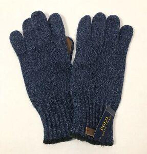 Polo Ralph Lauren Men's Navy Blue One Size Merino Wool Blend Gloves 11 x 5 inch