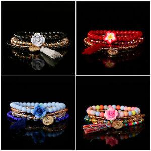 Boho Agate Stone Beads Charms Pendant Flower Tassel Bracelets Bangles Set Women