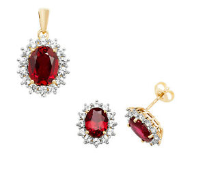 Ruby Pendant and Earrings Set Solid Yellow Gold White Sapphire Cluster