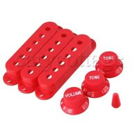 3 x Red Plastic Single Layer Pickup Covers for Electric Guitar