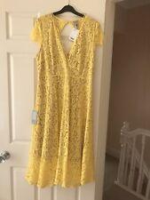 H&M Ladies Lace V-neck Dress, Yellow, Size 14, Bnwot