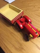 Handcrafted Wooden Toy Tractor and Wagon