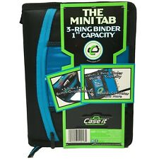 "Case It Mini Tab 3 Ring Binder Compartments Tabs Zipper 1"" 7.5x10 CHOOSE COLOR"