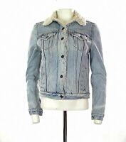 Women's Levi's Sherpa Lined Denim Jacket In Blue Size XS UK 6