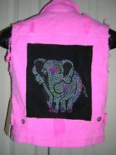 BUTTER Vintage Super Soft * L * Vest * Pink Distressed Denim Rhinestud Elephant