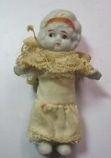 Antique Bisque Girl Japan C1930 Jointed Arms Handmase Clothes 3''1/2 Doll
