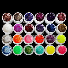24Pcs Solid Pure Glitter Mix Color Gel Acrylic Set UV Builder Nail Art Decor